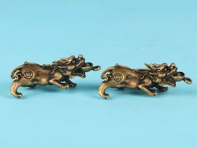 2 Unique Chinese Bronze Statue Kirin Solid Cast Sacred Mascot Collection Gift