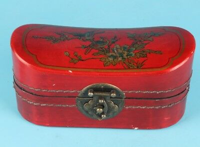 Vintage Chinese Red Leather Jewelry Box Decorate Flowers Birds Lady Dowry Collec