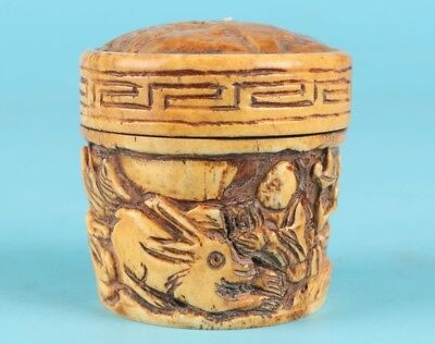 Precious Chinese Cattle Bone Jewelry Box Hand-Carved Rabbit Collection Gift