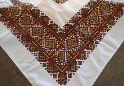 Vintage Printed Cotton Tablecloth Mid Century Red Green Retro 64""
