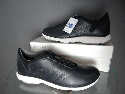 6bd86fc148 Geox Respira Men's Sneakers Black leather trainers Shoes size USA 11 new