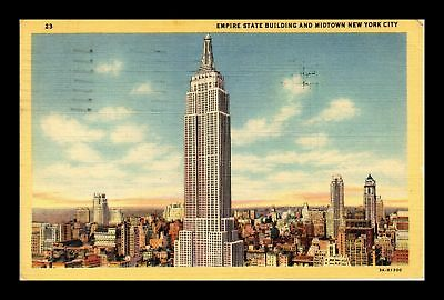 Dr Jim Stamps Us Empire State Building Midtown New York View Linen Postcard