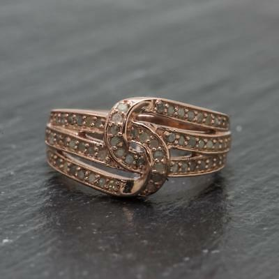 Natural 1.02ctw H-SI Diamond 14k Rose Gold / Sterling Silver Cocktail Ring 4.9g