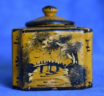 Early Antique Chinoiserie Redware Pottery Mustard Black Oriental Scenes Inkwell