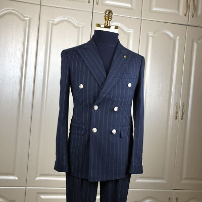 Men's Navy Blue Striped Double-breasted Suits Peak Lapel Prom Party Tuxedos 2pcs