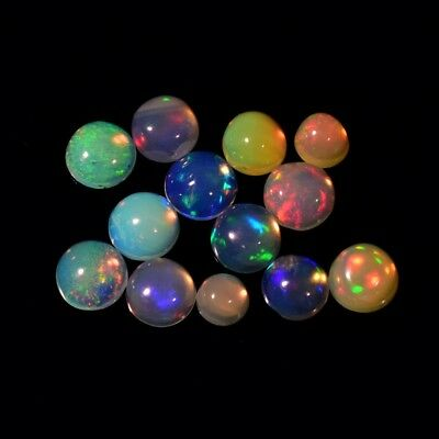 13pcs Lot 2.14ct Round Cabochon Natural Play-of-Color Crystal Opal