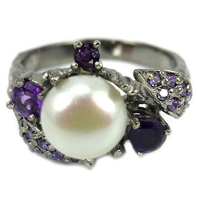 Natural Aaa White Pearl, Purple Amethyst & Cz Sterling 925 Silver Leaf Ring 6.75
