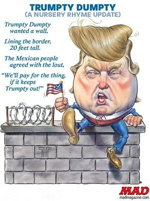 "Donald TRUMP  Trumpty Dumpty Nursery Rhyme  The Wall  FRIDGE Magnet 2.5"" x 3.5"""