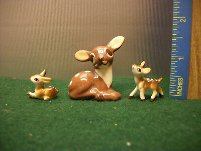 Lot Of 3 Vintage Bone China Doe & Fawns Deer Miniature Figurines