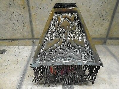 Antique Mission Arts & Crafts Period -Brass perforated Lamp Shade -Stenciled Art