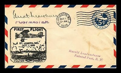 Dr Jim Stamps Us St Joseph Missouri First Flight Air Mail Cover Painted Post