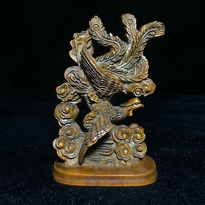 Rare Old Boxwood Handwork Phoenix Collectible Antique Japanese Netsuke Statue