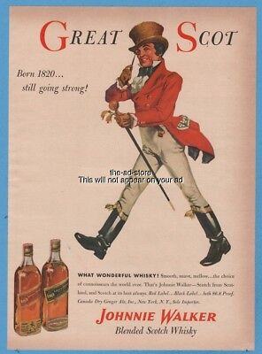 1954 GREAT SCOT Johnnie Walker Scotch Whisky 1950s Whiskey Red Black Label Ad