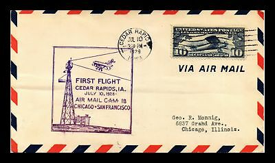 Dr Jim Stamps Us Cedar Rapids Cam 18 First Flight Air Mail Cover Chicago 1928
