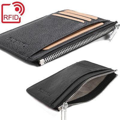 Genuine Leather Mens RFID-Blocking ID Wallet Slim Credit Card Holder Minimalist