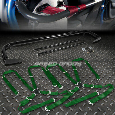 """Black 49""""stainless Steel Chassis Harness Bar+Green 4-Pt Strap Camlock Seat Belt"""