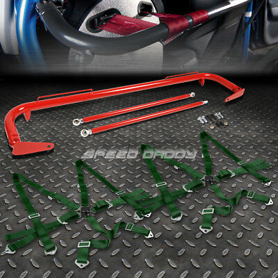 """Red 49""""stainless Steel Chassis Harness Bar+Gold 6-Pt Strap Camlock Seat Belt"""