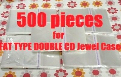 Resealable Outer Plastic Sleeves for FAT TYPE DOUBLE CD Jewel Cases 500 pieces