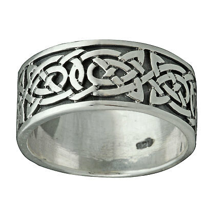 Triskelle Celtic Knot Oxidised Band 9mm Ring 7g 925 Sterling Silver BELDIAMO