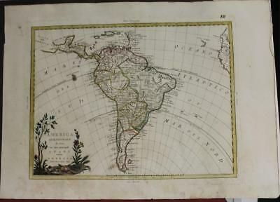 South America 1785 Antonio Zatta Unusual Antique Original Copper Engraved Map