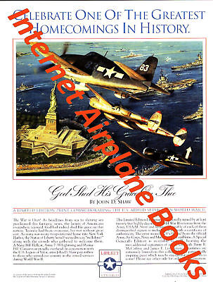 """""""god Shed His Grace On Thee"""" John D. Shaw Aviation Art Advertising Brochure F6F"""