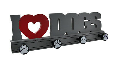 Scratch & Dent Wooden 'I Heart Dogs' Wall Mounted Pet Leash Holder