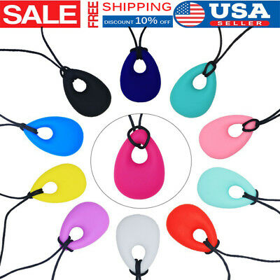 Teething Necklace Teether Autism Sensory Kids Baby Chew Chewy Silicone Pendant
