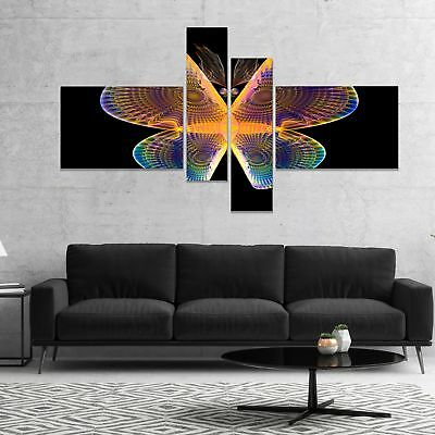 Designart 'Blue Yellow Fractal Butterfly in Dark' Abstract Canvas Art Print