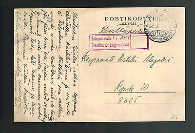 1940 Finland Army soldier Feldpost Stampless Postcard Cover to Kpik Kentiposta
