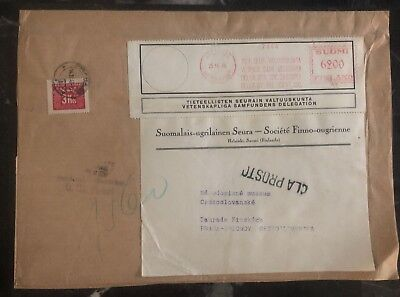 1946 Helsinki Finland Meter Cancel Oversized Cover To Prague Czechoslovakia