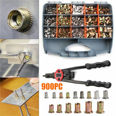 900pcs Riveter Gun Stainless Steel Rivet Nuts Insert Tool Kit M3 M4 M5 M6 M8 M10
