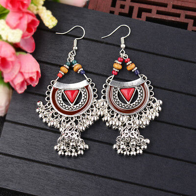 Women Bohemian Ethnic Vintage Drop Dangle Bell Tassel Long Enamel Earrings Gifts