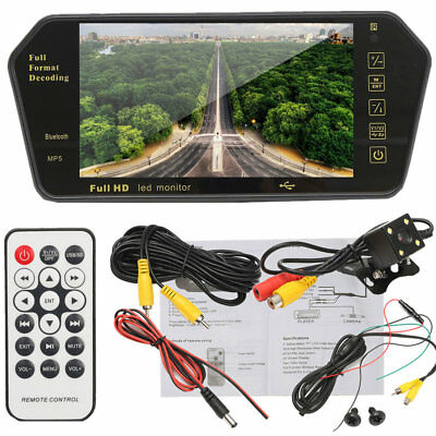 7in Car TFT LCD Mirror Monitor+Wired Reverse Car Rear View Backup Camera Kit