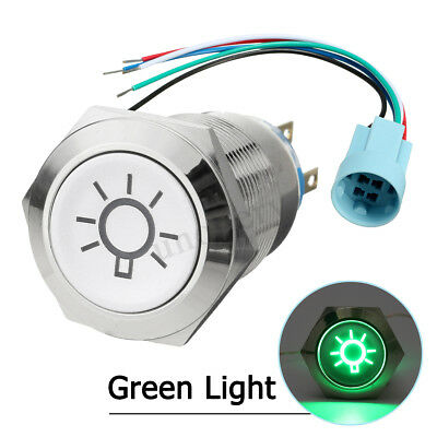19mm 12V Car Boat Push Button Switch Dome LED Light Green Wire Socket Connector