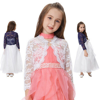 Girls Childrens 6-12 Y Bolero Shrug Cardigan Lace Crochet Kids Long Sleeve Tops