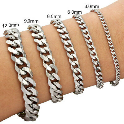 "3/6/9/12/15mm Mens Chain Curb Link Silver Tone Stainless Steel Bracelet 7"" 8"" 9"""