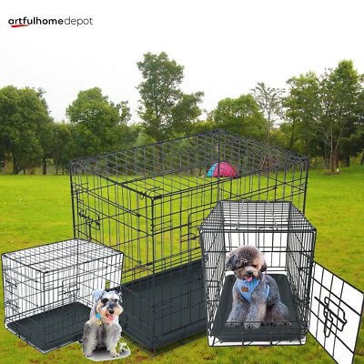 """48""""/42""""/36""""/30""""/24""""/20"""" Pet Kennel Dog Folding Crate Wire Metal Cage W/Divider"""