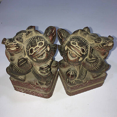 Pair Exquisite Antique chinese Wood Lions