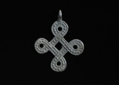 Medieval Viking Scandinavian Bronze Interlaced Cross Pendant / Amulet  - T155
