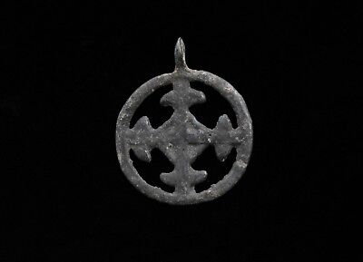 Medieval Period Bronze Open-Work Cross Pendant / Amulet - T157
