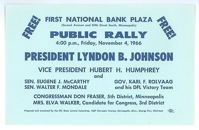Vintage 1966 President Johnson Eugene McCarthy Political Campaign Rally Flier