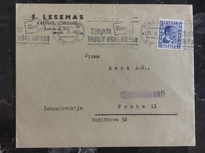 1938 Kaunas Lithuania Censored cover To Prague Sudetenland Crisis