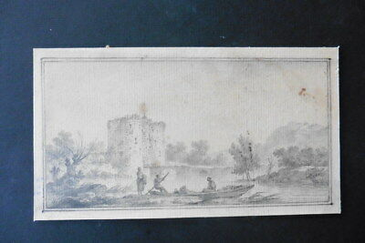 French School 1776 - Animated River Landscape - Signed Pencil Drawing