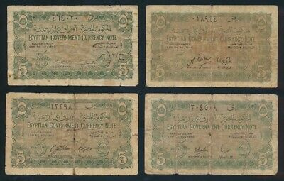 "Egypt: 1940 5 Piastres ""SET OF 4 DIFF SIGS"". P163 VG to F - Cat VF $533, VG $107"