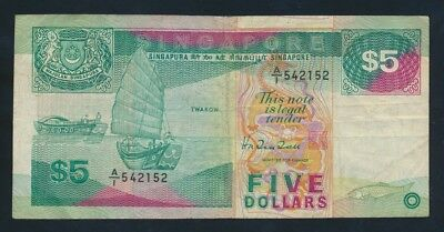 "Singapore: 1989 $5 Ship Series De la Rue Print SCARCE 1ST PREFIX ""A/1"". Pick 19"