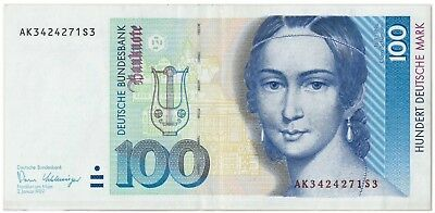 Germany 100 Deutsche Mark 1989 VF +