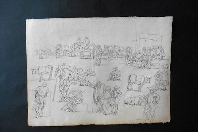 FRENCH SCHOOL 18thC - STUDIES FIGURES AND ANIMALS BY CONSTANTIN D'AIX - INK