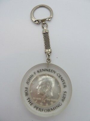 1968 D  Kennedy Half Dollar Lucite Key Chain Kennedy Center For Performing Arts