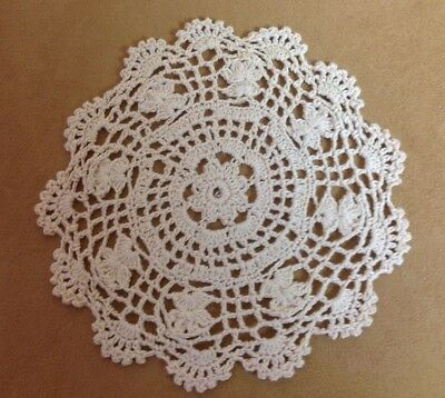 Vintage Hand Crocheted Round Small Doily, Flower Design, Scalloped Edges, Beige