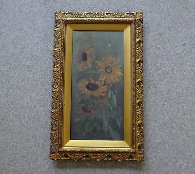 Antique Ornate Wood & Gesso Gilt Frame + Oil Painting Sunflowers C A King 1896